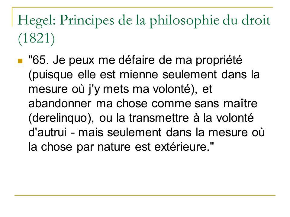 Hegel: Principes de la philosophie du droit (1821)