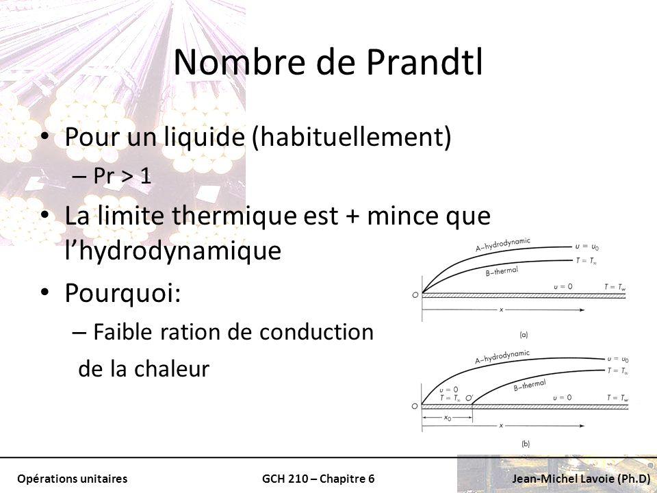 Opérations unitairesGCH 210 – Chapitre 6Jean-Michel Lavoie (Ph.D) Nombre de Prandtl Pour un liquide (habituellement) – Pr > 1 La limite thermique est