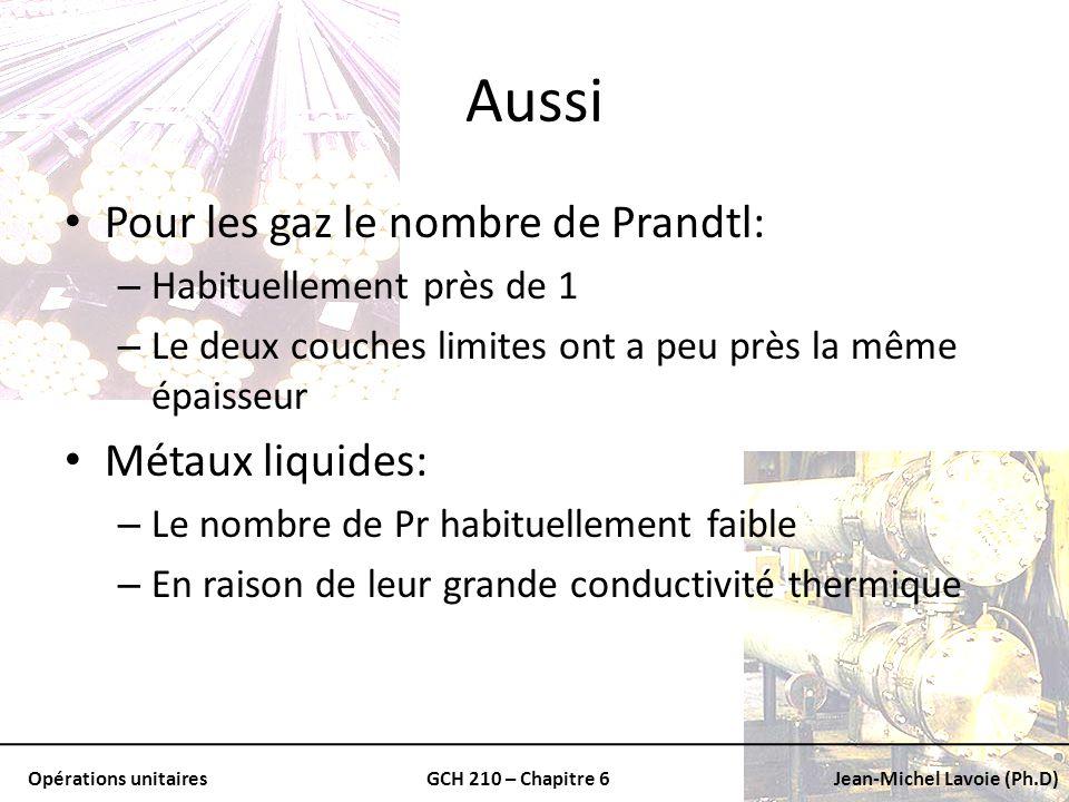 Opérations unitairesGCH 210 – Chapitre 6Jean-Michel Lavoie (Ph.D) Aussi Pour les gaz le nombre de Prandtl: – Habituellement près de 1 – Le deux couche