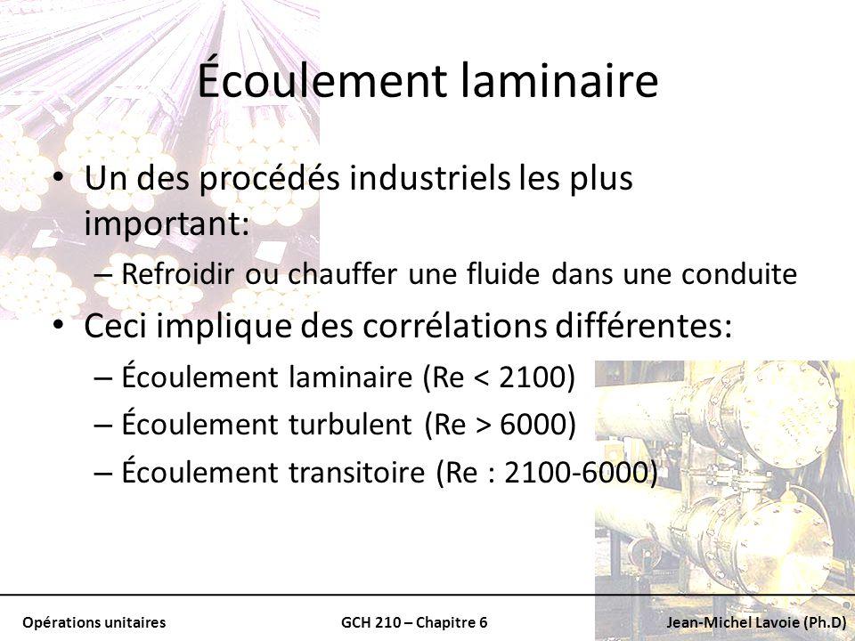 Opérations unitairesGCH 210 – Chapitre 6Jean-Michel Lavoie (Ph.D) Écoulement laminaire Un des procédés industriels les plus important: – Refroidir ou