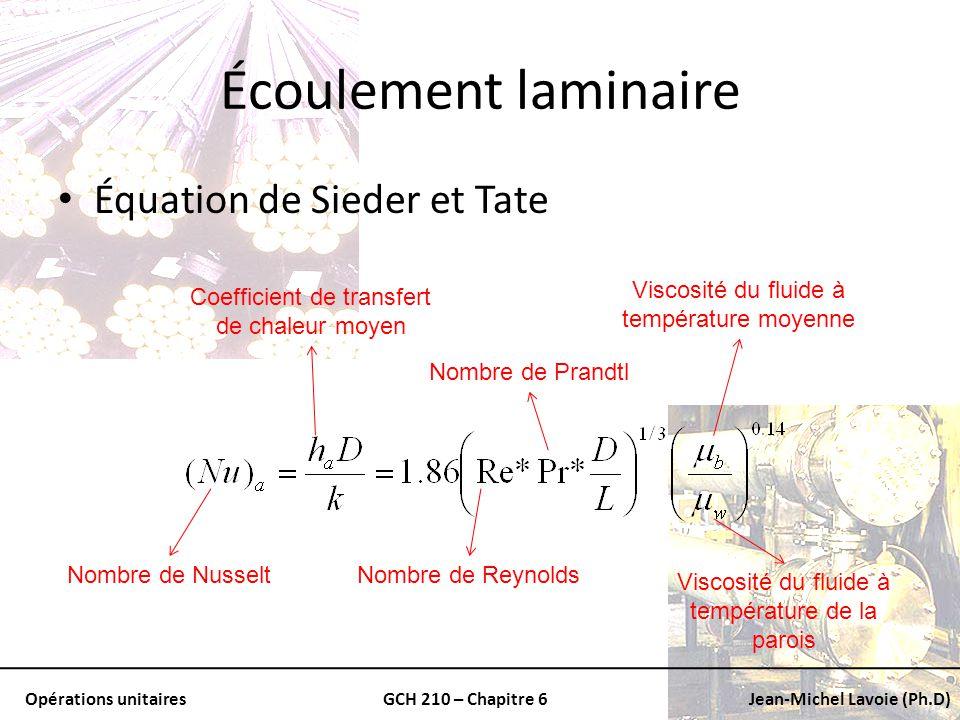 Opérations unitairesGCH 210 – Chapitre 6Jean-Michel Lavoie (Ph.D) Écoulement laminaire Équation de Sieder et Tate Coefficient de transfert de chaleur