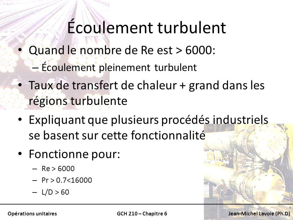 Opérations unitairesGCH 210 – Chapitre 6Jean-Michel Lavoie (Ph.D) Écoulement turbulent Quand le nombre de Re est > 6000: – Écoulement pleinement turbu