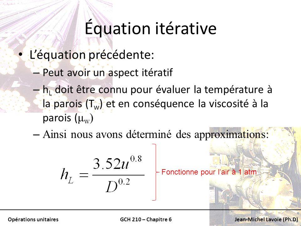 Opérations unitairesGCH 210 – Chapitre 6Jean-Michel Lavoie (Ph.D) Équation itérative Léquation précédente: – Peut avoir un aspect itératif – h L doit