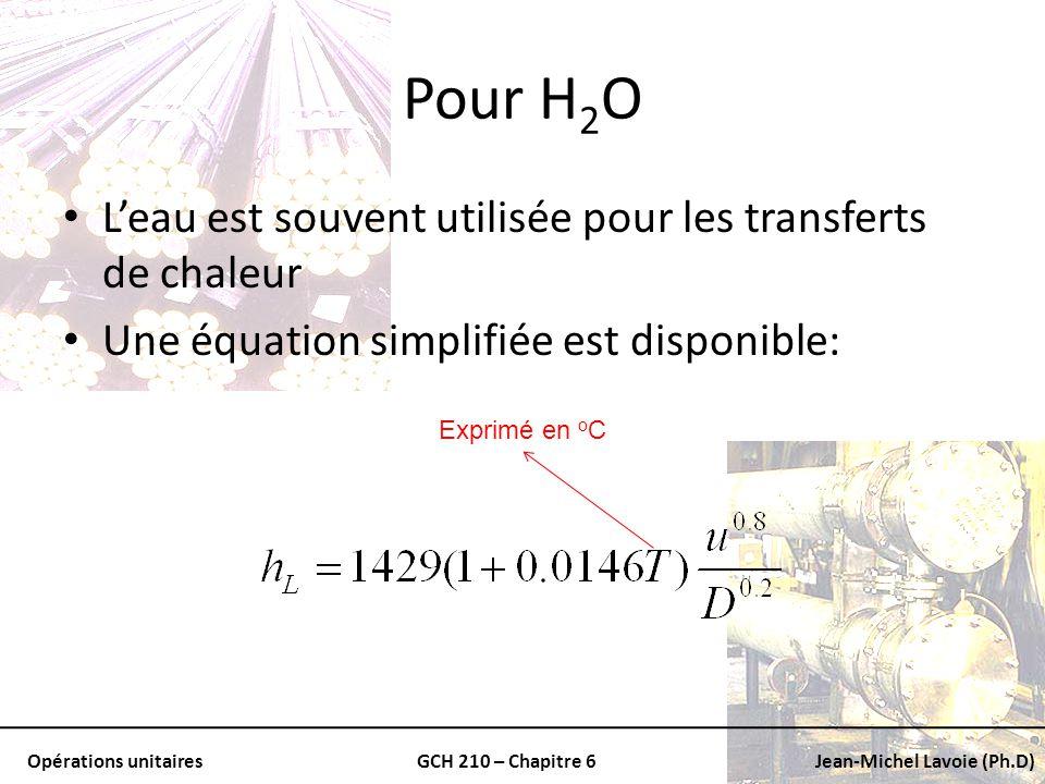 Opérations unitairesGCH 210 – Chapitre 6Jean-Michel Lavoie (Ph.D) Pour H 2 O Leau est souvent utilisée pour les transferts de chaleur Une équation sim