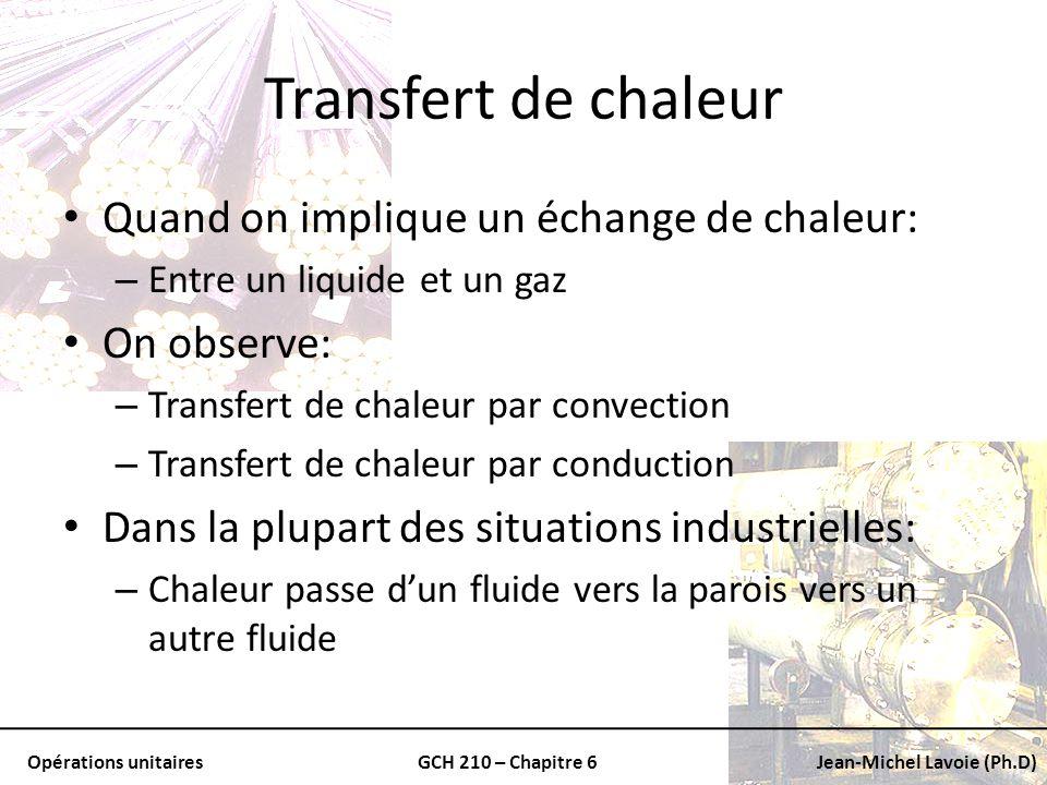Opérations unitairesGCH 210 – Chapitre 6Jean-Michel Lavoie (Ph.D) Transfert de chaleur Quand on implique un échange de chaleur: – Entre un liquide et