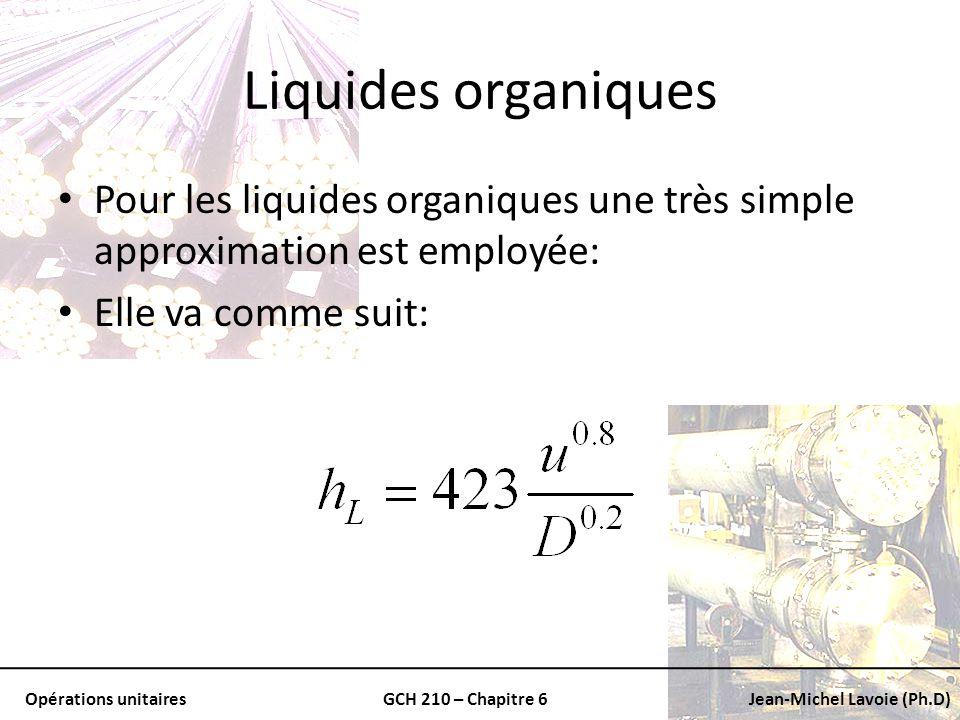 Opérations unitairesGCH 210 – Chapitre 6Jean-Michel Lavoie (Ph.D) Liquides organiques Pour les liquides organiques une très simple approximation est e