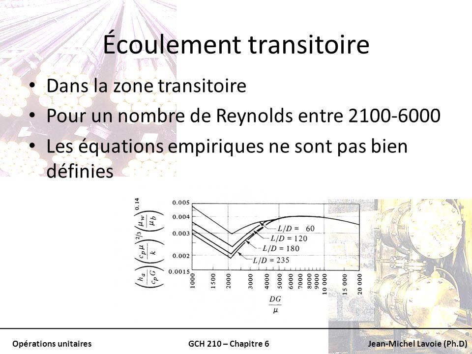 Opérations unitairesGCH 210 – Chapitre 6Jean-Michel Lavoie (Ph.D) Écoulement transitoire Dans la zone transitoire Pour un nombre de Reynolds entre 210