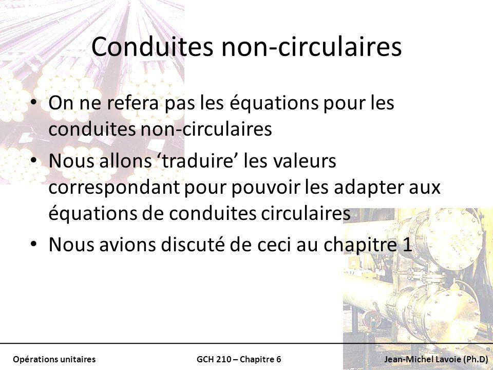 Opérations unitairesGCH 210 – Chapitre 6Jean-Michel Lavoie (Ph.D) Conduites non-circulaires On ne refera pas les équations pour les conduites non-circ