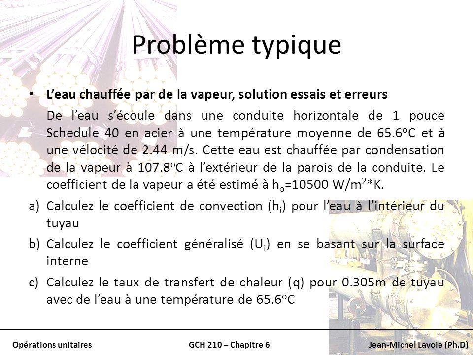 Opérations unitairesGCH 210 – Chapitre 6Jean-Michel Lavoie (Ph.D) Problème typique Leau chauffée par de la vapeur, solution essais et erreurs De leau