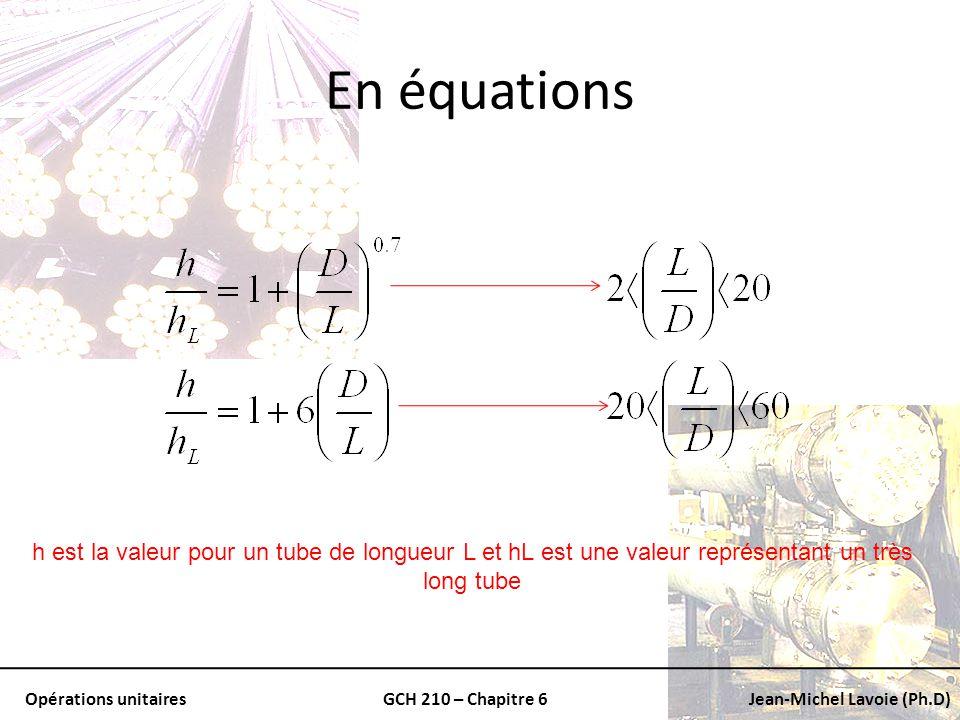 Opérations unitairesGCH 210 – Chapitre 6Jean-Michel Lavoie (Ph.D) En équations h est la valeur pour un tube de longueur L et hL est une valeur représe