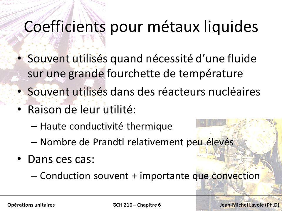 Opérations unitairesGCH 210 – Chapitre 6Jean-Michel Lavoie (Ph.D) Coefficients pour métaux liquides Souvent utilisés quand nécessité dune fluide sur u