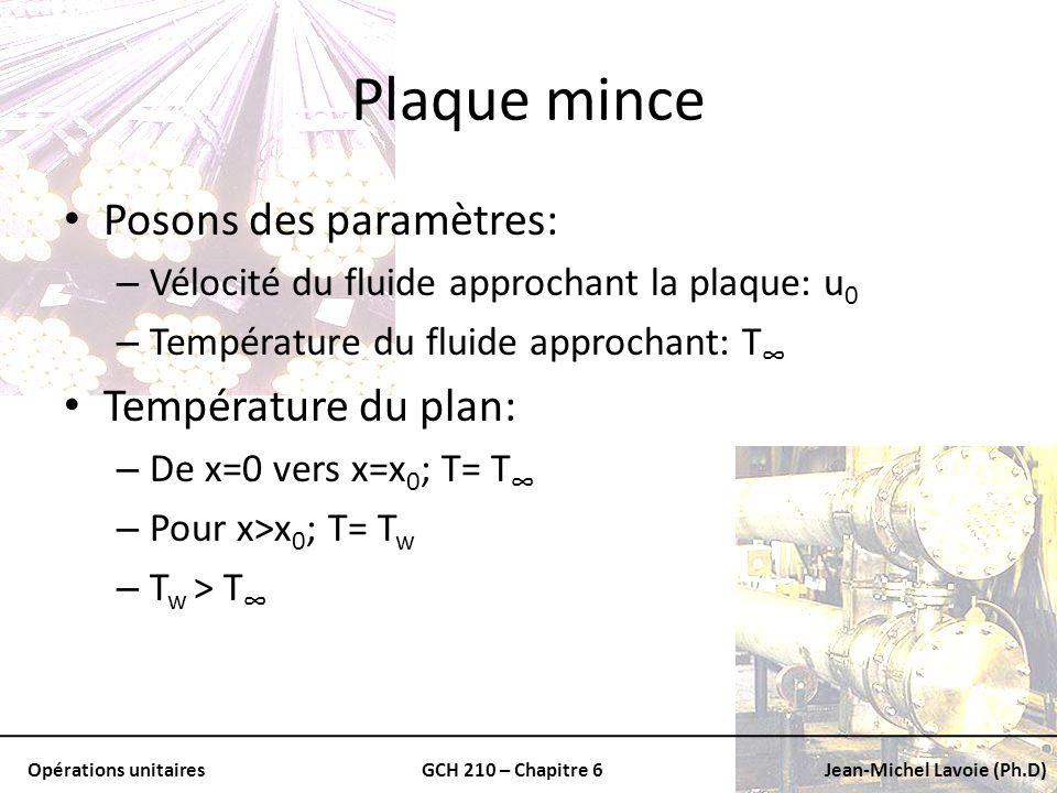 Opérations unitairesGCH 210 – Chapitre 6Jean-Michel Lavoie (Ph.D) Plaque mince Posons des paramètres: – Vélocité du fluide approchant la plaque: u 0 –