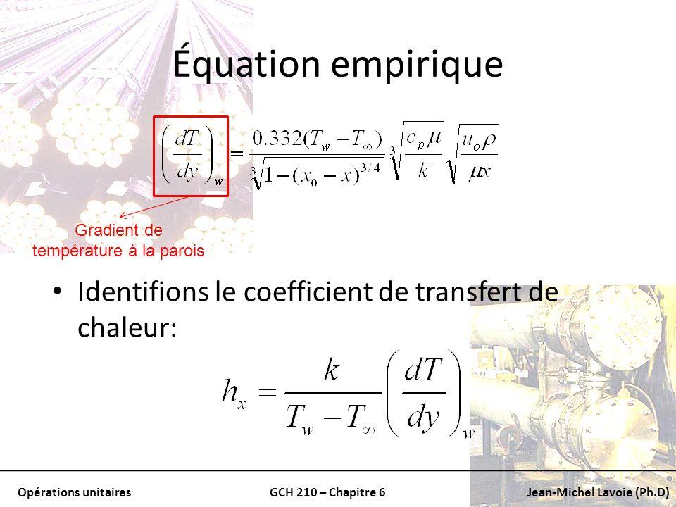 Opérations unitairesGCH 210 – Chapitre 6Jean-Michel Lavoie (Ph.D) Équation empirique Gradient de température à la parois Identifions le coefficient de