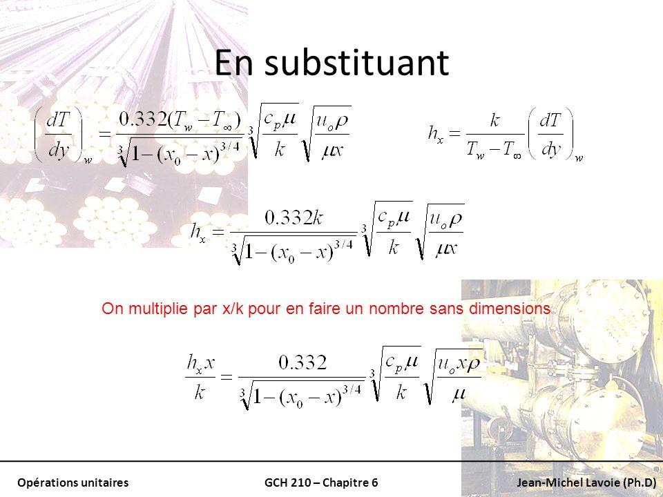 Opérations unitairesGCH 210 – Chapitre 6Jean-Michel Lavoie (Ph.D) En substituant On multiplie par x/k pour en faire un nombre sans dimensions
