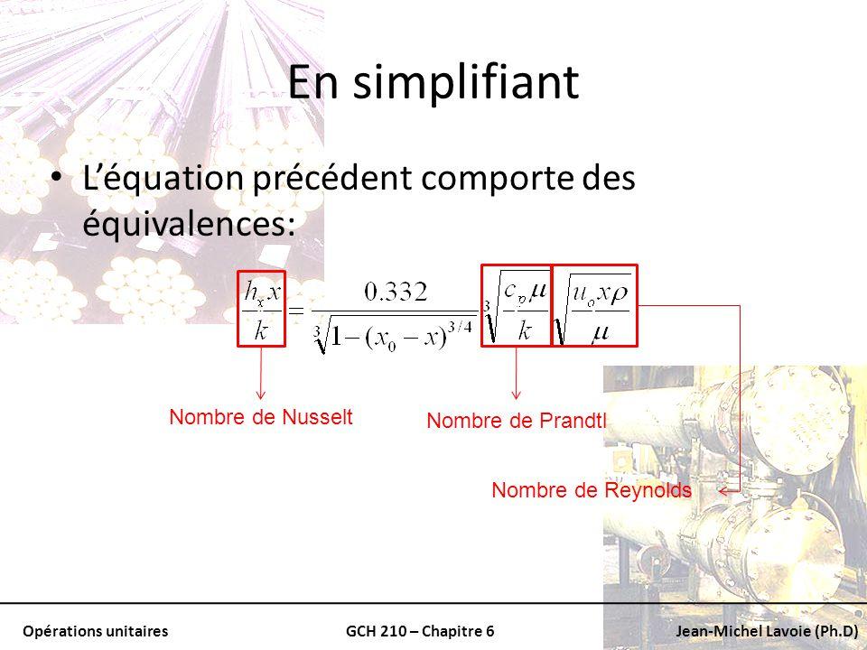 Opérations unitairesGCH 210 – Chapitre 6Jean-Michel Lavoie (Ph.D) En simplifiant Léquation précédent comporte des équivalences: v Nombre de Nusselt vv