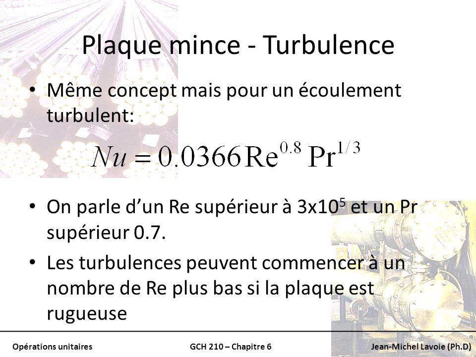 Opérations unitairesGCH 210 – Chapitre 6Jean-Michel Lavoie (Ph.D) Plaque mince - Turbulence Même concept mais pour un écoulement turbulent: On parle d