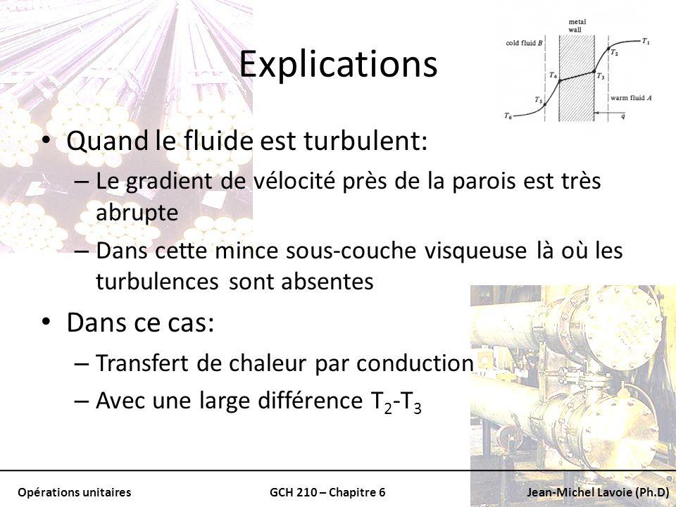 Opérations unitairesGCH 210 – Chapitre 6Jean-Michel Lavoie (Ph.D) Explications En séloignant du mur: – Nous approchons une zone turbulente – Les tourbillons rapides stabilisent la température Nécessairement: – La différence de température T 1 -T 2 est faible On considère que la température moyenne du fluide A: – Un peu plus petite que T 1