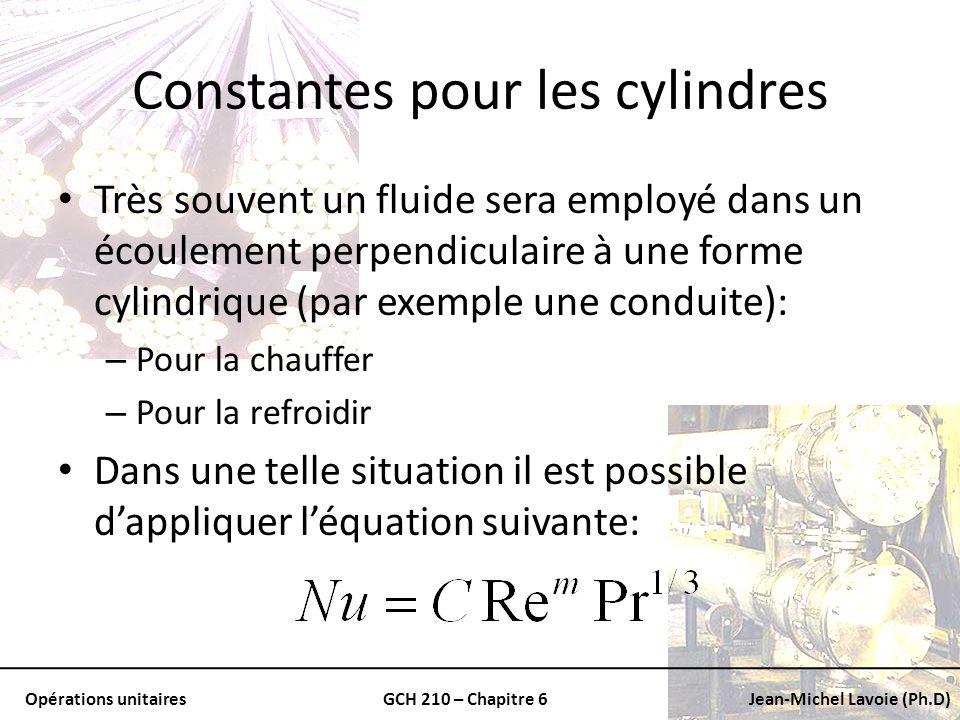 Opérations unitairesGCH 210 – Chapitre 6Jean-Michel Lavoie (Ph.D) Constantes pour les cylindres Très souvent un fluide sera employé dans un écoulement