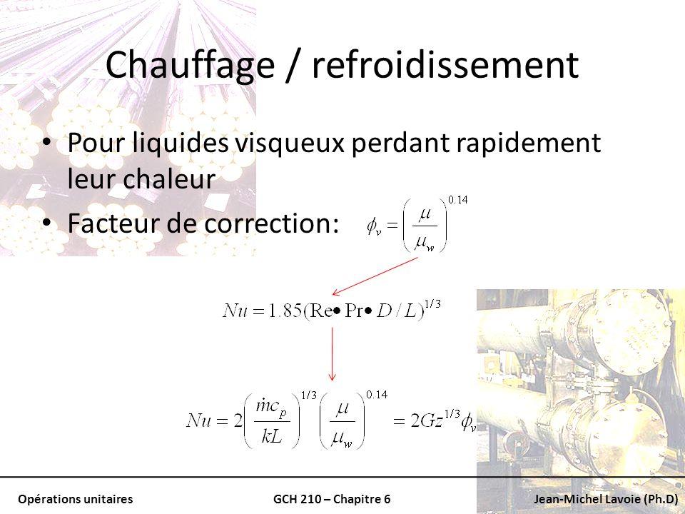 Opérations unitairesGCH 210 – Chapitre 6Jean-Michel Lavoie (Ph.D) Chauffage / refroidissement Pour liquides visqueux perdant rapidement leur chaleur F