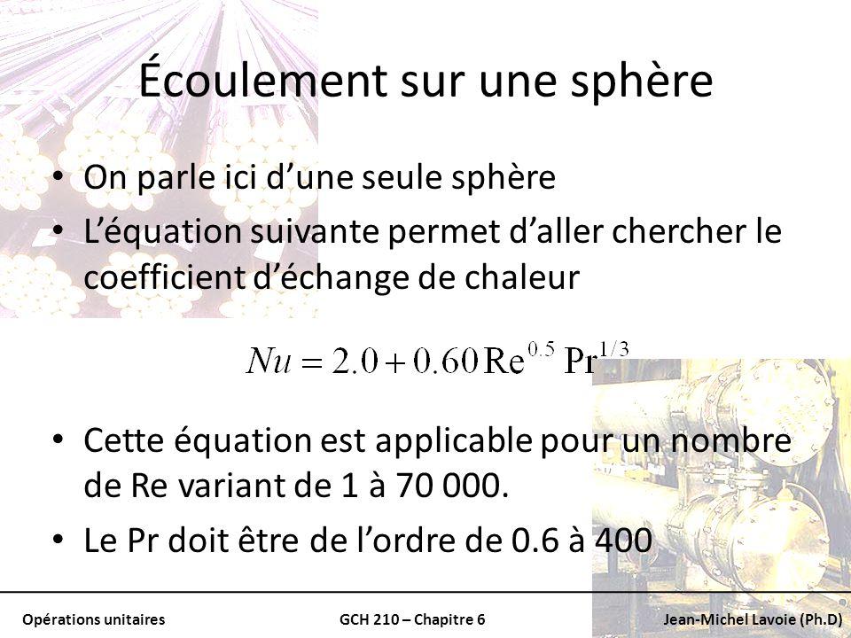 Opérations unitairesGCH 210 – Chapitre 6Jean-Michel Lavoie (Ph.D) Écoulement sur une sphère On parle ici dune seule sphère Léquation suivante permet d