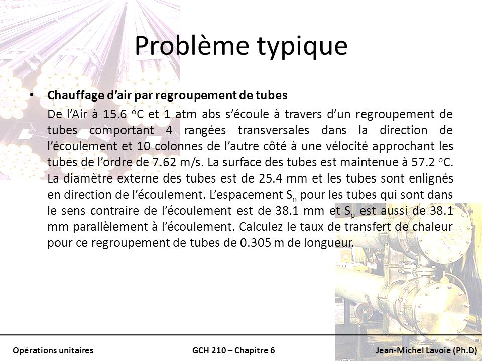 Opérations unitairesGCH 210 – Chapitre 6Jean-Michel Lavoie (Ph.D) Problème typique Chauffage dair par regroupement de tubes De lAir à 15.6 o C et 1 at