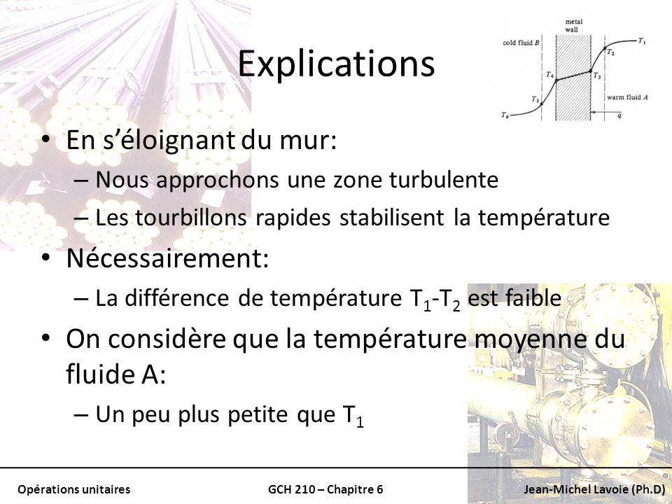 Opérations unitairesGCH 210 – Chapitre 6Jean-Michel Lavoie (Ph.D) Explications Pour ce qui est de lautre côté: – On peut donner une explication similaire Le coefficient de transfert de chaleur dans un fluide est donné par la relation suivante: Taux de transfert de chaleur Coefficient de transfert de chaleur par convection Aire Température moyenne du fluide Température à la parois