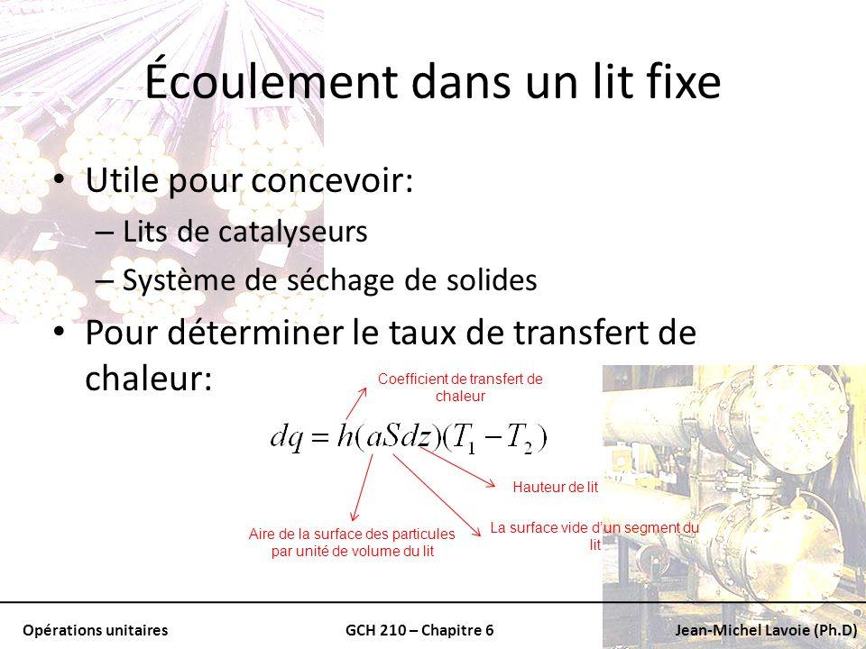 Opérations unitairesGCH 210 – Chapitre 6Jean-Michel Lavoie (Ph.D) Écoulement dans un lit fixe Utile pour concevoir: – Lits de catalyseurs – Système de