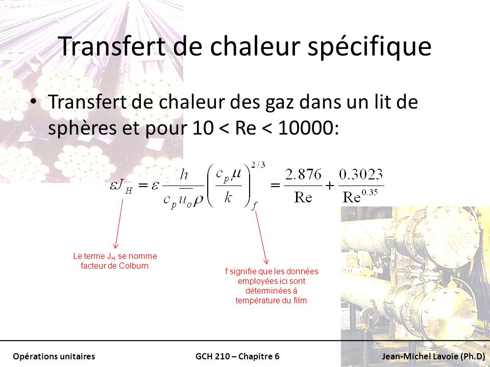 Opérations unitairesGCH 210 – Chapitre 6Jean-Michel Lavoie (Ph.D) Transfert de chaleur spécifique Transfert de chaleur des gaz dans un lit de sphères
