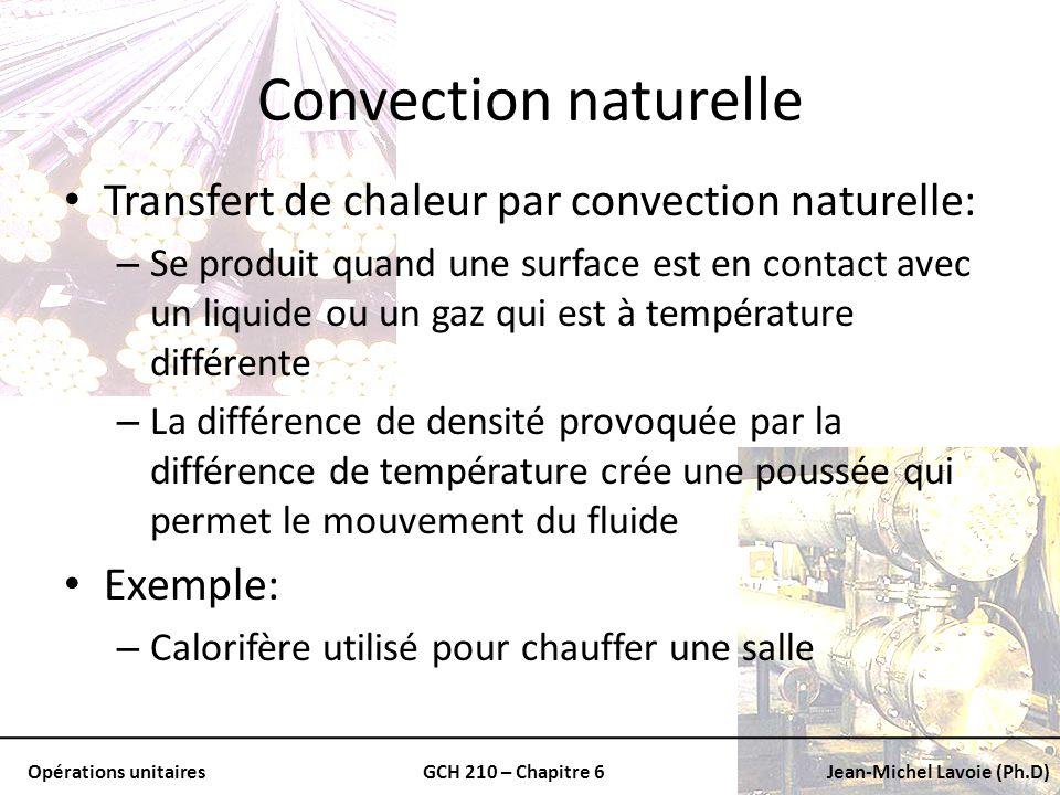 Opérations unitairesGCH 210 – Chapitre 6Jean-Michel Lavoie (Ph.D) Convection naturelle Transfert de chaleur par convection naturelle: – Se produit qua
