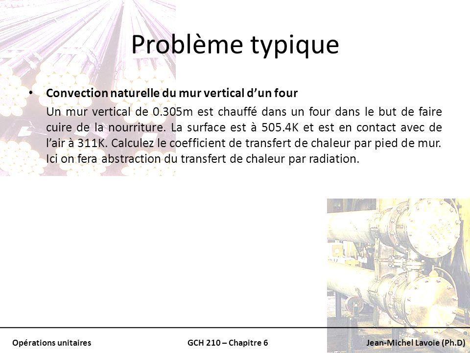 Opérations unitairesGCH 210 – Chapitre 6Jean-Michel Lavoie (Ph.D) Problème typique Convection naturelle du mur vertical dun four Un mur vertical de 0.