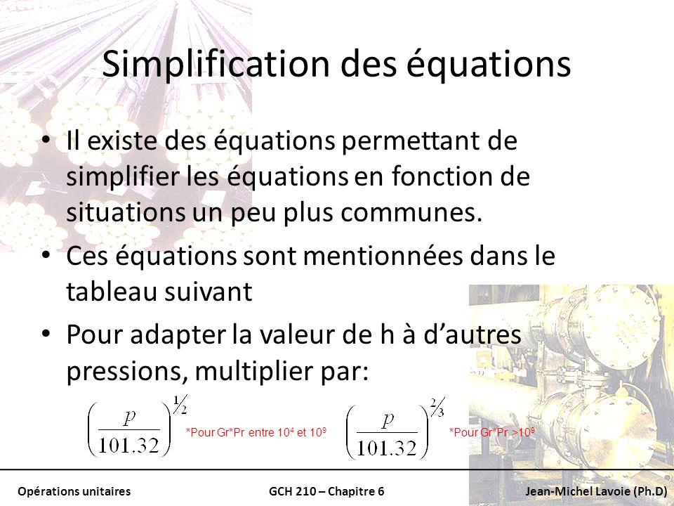Opérations unitairesGCH 210 – Chapitre 6Jean-Michel Lavoie (Ph.D) Simplification des équations Il existe des équations permettant de simplifier les éq