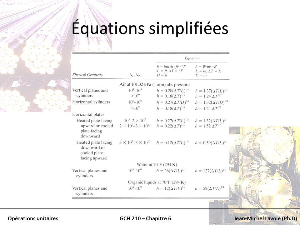 Opérations unitairesGCH 210 – Chapitre 6Jean-Michel Lavoie (Ph.D) Équations simplifiées
