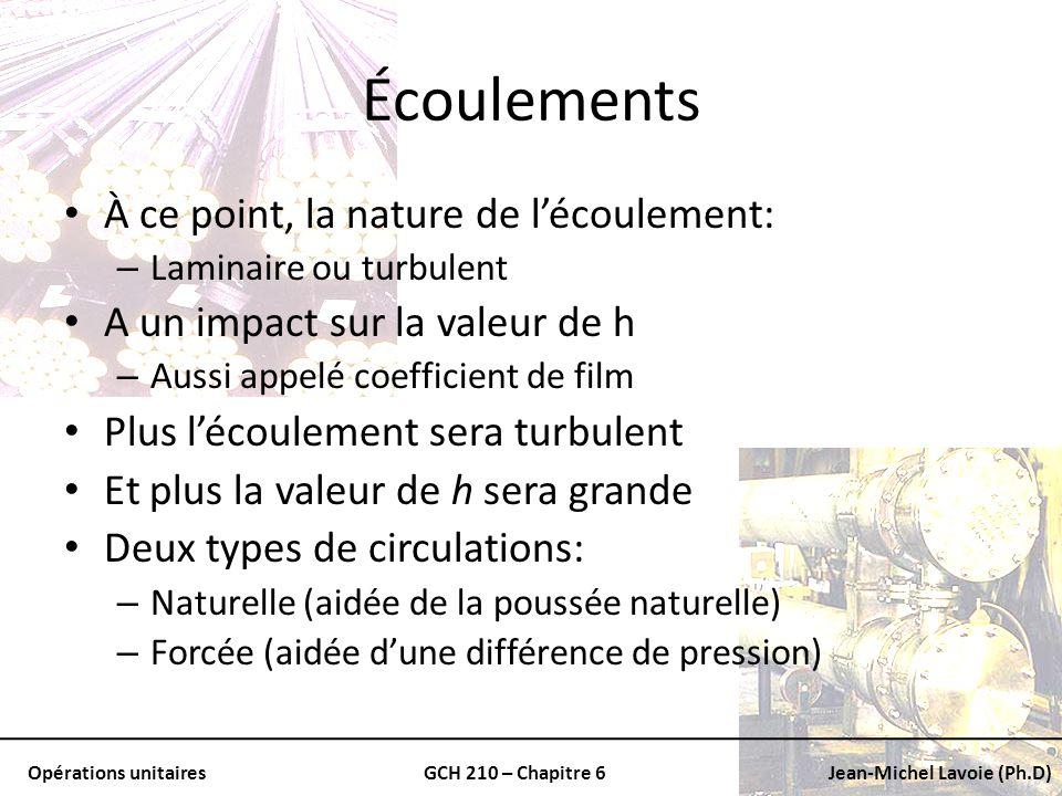 Opérations unitairesGCH 210 – Chapitre 6Jean-Michel Lavoie (Ph.D) Écoulements À ce point, la nature de lécoulement: – Laminaire ou turbulent A un impa