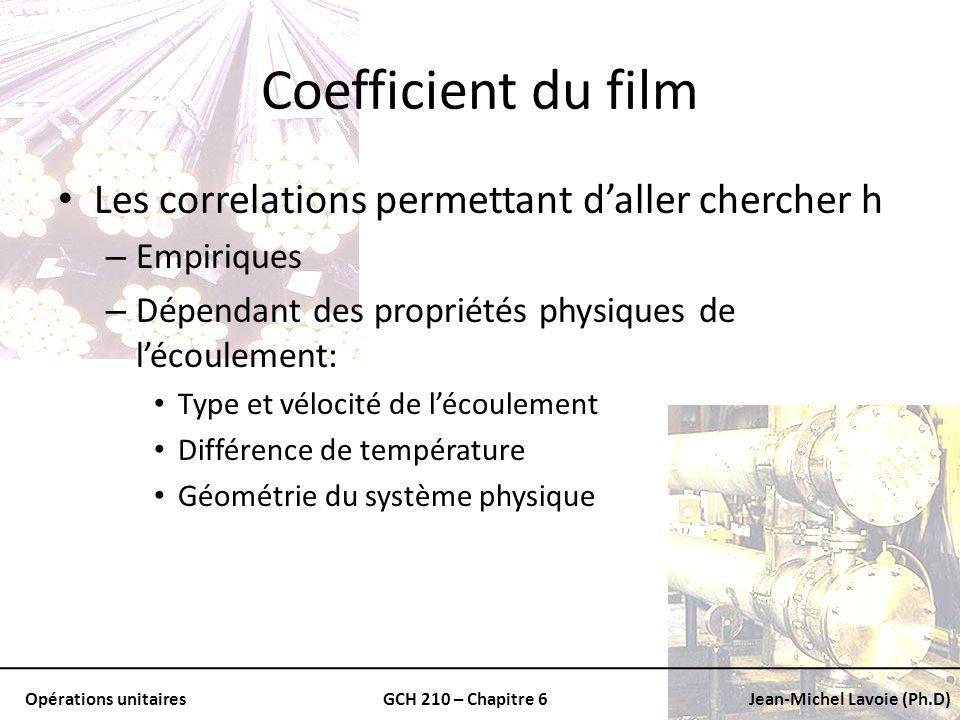 Opérations unitairesGCH 210 – Chapitre 6Jean-Michel Lavoie (Ph.D) Coefficient du film Les correlations permettant daller chercher h – Empiriques – Dép