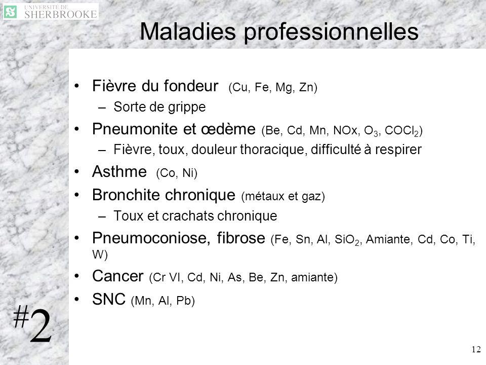 12 Maladies professionnelles Fièvre du fondeur (Cu, Fe, Mg, Zn) –Sorte de grippe Pneumonite et œdème (Be, Cd, Mn, NOx, O 3, COCl 2 ) –Fièvre, toux, do