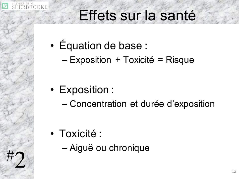 13 Effets sur la santé Équation de base : –Exposition + Toxicité = Risque Exposition : –Concentration et durée dexposition Toxicité : –Aiguë ou chroni