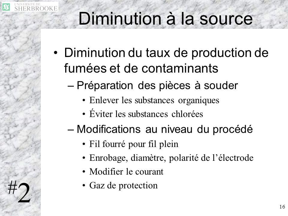 16 Diminution à la source Diminution du taux de production de fumées et de contaminants –Préparation des pièces à souder Enlever les substances organi