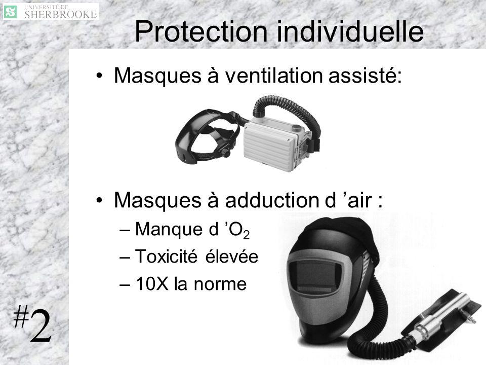 22 Masques à ventilation assisté: Masques à adduction d air : –Manque d O 2 –Toxicité élevée –10X la norme Protection individuelle #2#2