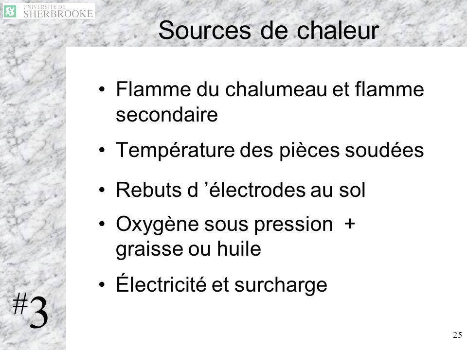 25 Sources de chaleur Flamme du chalumeau et flamme secondaire Température des pièces soudées Rebuts d électrodes au sol Oxygène sous pression + grais