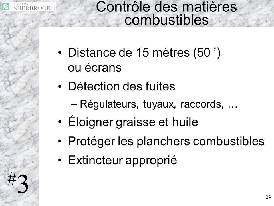29 Contrôle des matières combustibles Distance de 15 mètres (50 ) ou écrans Détection des fuites –Régulateurs, tuyaux, raccords, … Éloigner graisse et