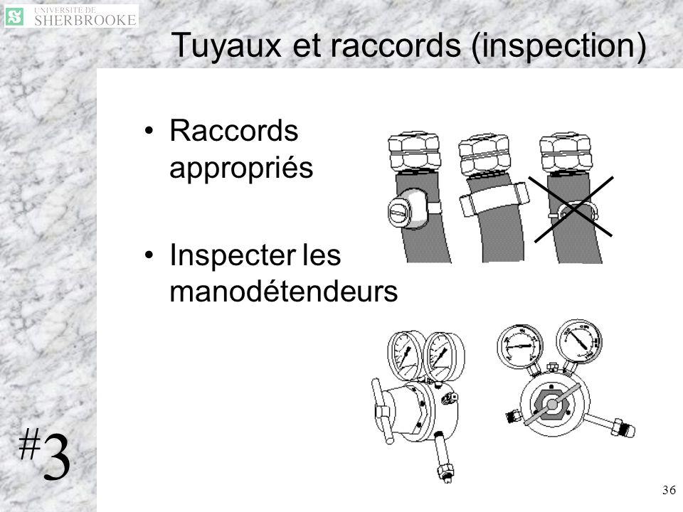 36 Tuyaux et raccords (inspection) Raccords appropriés Inspecter les manodétendeurs #3#3