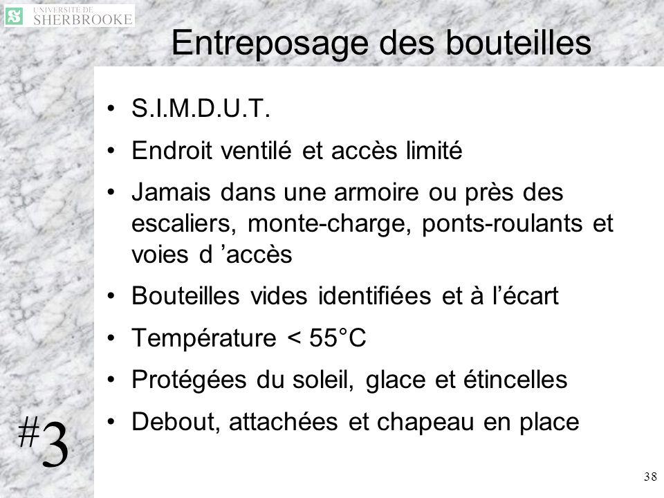 38 Entreposage des bouteilles S.I.M.D.U.T. Endroit ventilé et accès limité Jamais dans une armoire ou près des escaliers, monte-charge, ponts-roulants