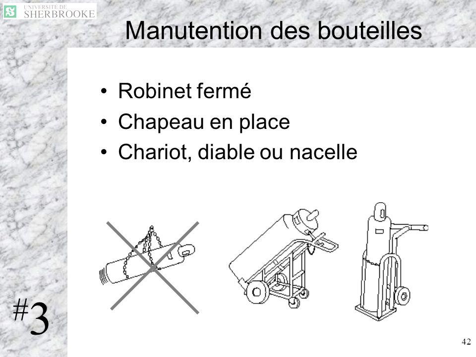 42 Manutention des bouteilles Robinet fermé Chapeau en place Chariot, diable ou nacelle #3#3