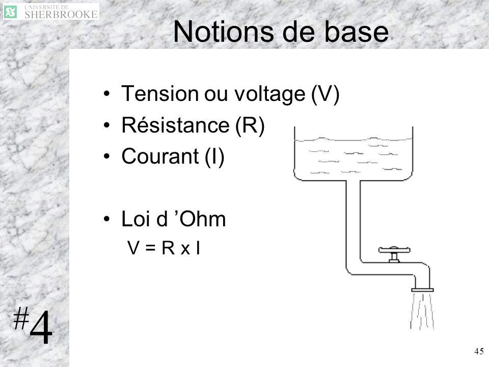 45 Notions de base Tension ou voltage (V) Résistance (R) Courant (I) Loi d Ohm V = R x I #4#4
