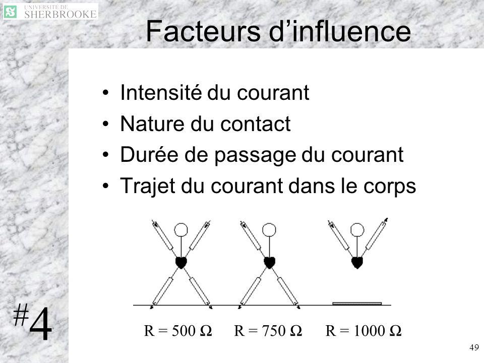 49 Facteurs dinfluence Intensité du courant Nature du contact Durée de passage du courant Trajet du courant dans le corps #4#4 R = 500 R = 750 R = 100