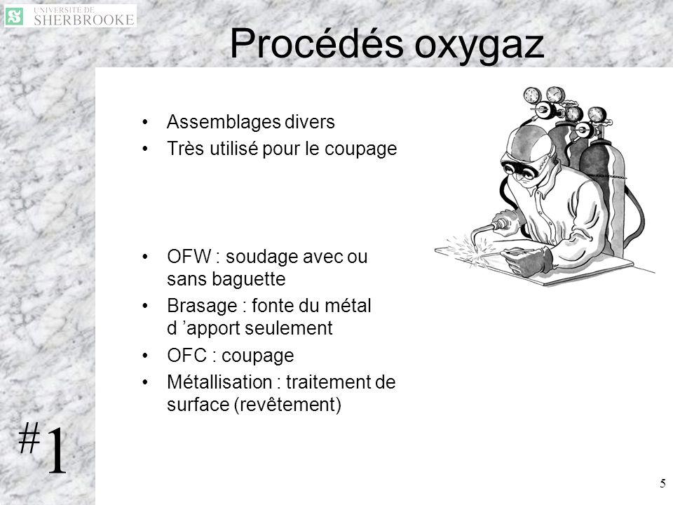 5 Procédés oxygaz Assemblages divers Très utilisé pour le coupage OFW : soudage avec ou sans baguette Brasage : fonte du métal d apport seulement OFC