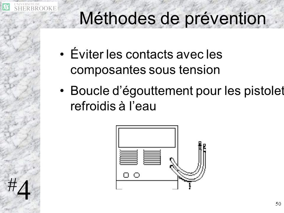 50 Méthodes de prévention Éviter les contacts avec les composantes sous tension Boucle dégouttement pour les pistolets refroidis à leau #4#4