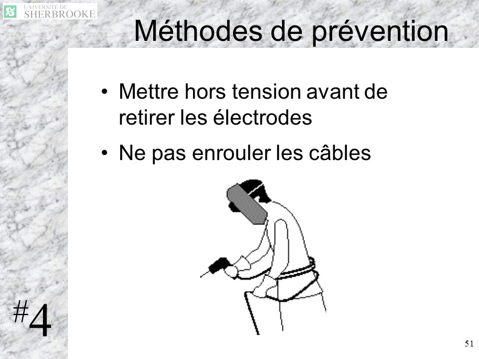 51 Méthodes de prévention Mettre hors tension avant de retirer les électrodes Ne pas enrouler les câbles #4#4