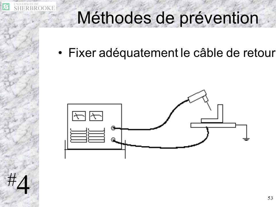 53 Méthodes de prévention Fixer adéquatement le câble de retour #4#4