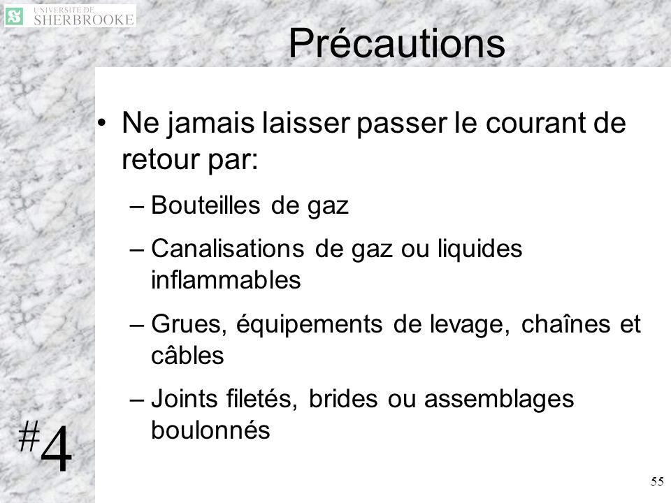 55 Précautions Ne jamais laisser passer le courant de retour par: –Bouteilles de gaz –Canalisations de gaz ou liquides inflammables –Grues, équipement